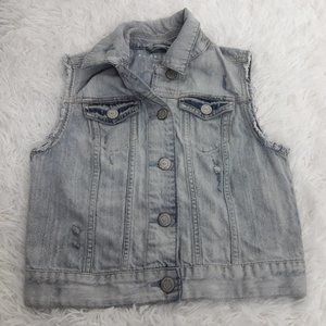 Aeropostale XS Denim Jean Jacket Crocheted back